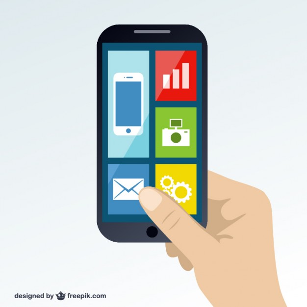 smartphone screen with icons online
